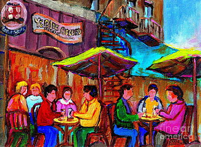 Painting - Art Of Montreal Enjoying A Pint At Ye Olde Orchard Irish Pub And Grill Monkland Village Cafe Scenes by Carole Spandau