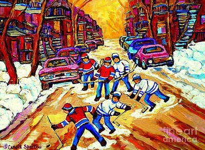 Art Of Montreal Hockey Street Scene After School Winter Game Painting By Carole Spandau Art Print by Carole Spandau
