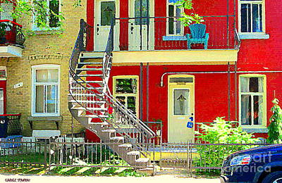 Montreal Memories. Painting - Art Of Montreal Upstairs Porch With Summer Chair Red Triplex In Verdun City Scene C Spandau by Carole Spandau
