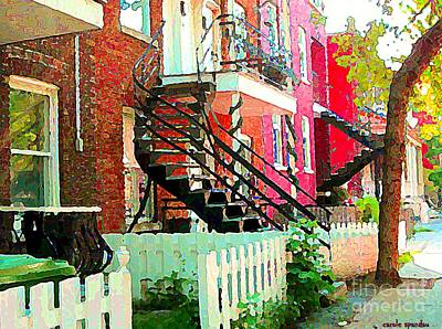 Art Of Verdun Painting - Art Of Montreal White Picket Fence In Verdun Summer Street Scenes Staircases Porches Carole Spandau by Carole Spandau