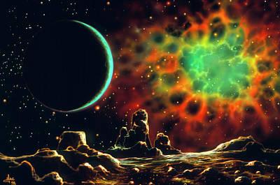 Art Of Supernova Remnant From Planet Art Print