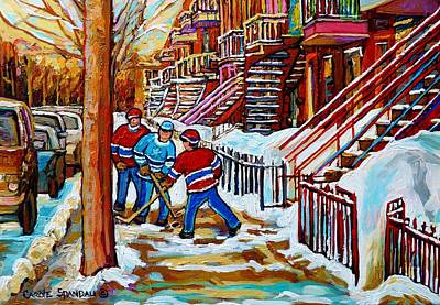 Kids Playing Hockey Drawing - Art Of Verdun Staircases Montreal Street Hockey Game City Scenes By Carole Spandau by Carole Spandau