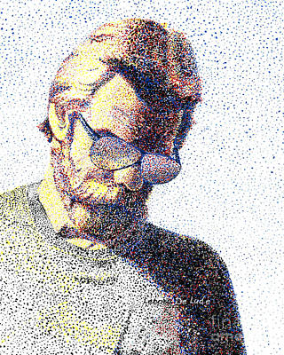 Painting - Art Pointillism Male Portrait  by Lenora  De Lude