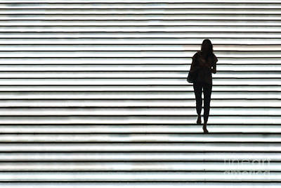 Stairway Photograph - Art Silhouette Of Girl Walking Down by Lars Ruecker