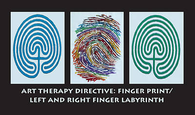 Mixed Media - Art Therapy Directive Finger Labyrinth Fingerprint by Anne Cameron Cutri