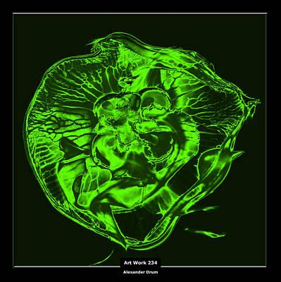 Art Work 234 Jellyfish Green Art Print by Alexander Drum