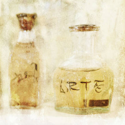 Photograph - Arte Art Glass Bottle In Yellow by Angela Bonilla