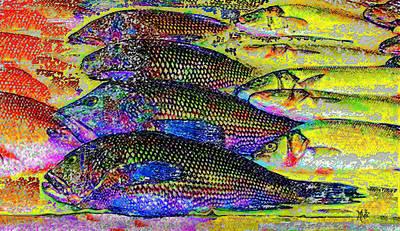 Flounder Painting - Arthur Avenue Fish Market by Michele Avanti