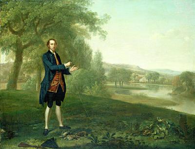 Arthur Devis, Portrait Of A Gentleman Netting Partridges Art Print by Litz Collection