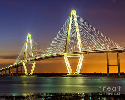 Arthur Ravenel Bridge Twilight Art Print by Anthony Heflin