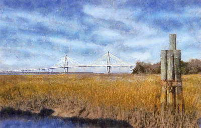 Impressionism Digital Art - Arthur Ravenel Jr. Bridge by Daniel Eskridge