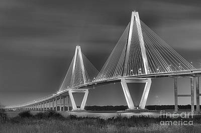 Arthur Ravenel Jr. Bridge In Black And White Art Print