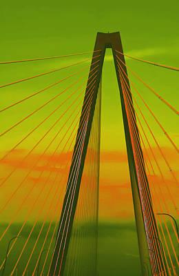 Arthur Ravenel Jr Bridge V Print by DigiArt Diaries by Vicky B Fuller