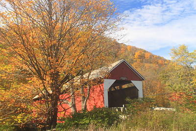 Photograph - Arthur Smith Covered Bridge Colrain Fall Foliage by John Burk