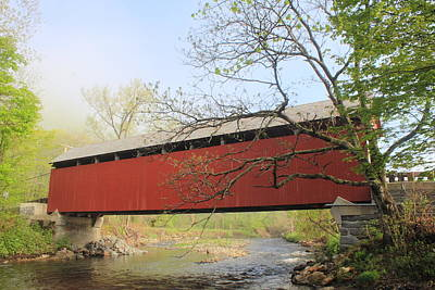 Photograph - Arthur Smith Covered Bridge Colrain Massachusetts by John Burk
