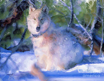 Digital Art - Artic Wolf by Ruby Cross