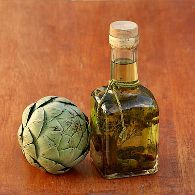Artichoke And Olive Oil Art Print by Art Block Collections