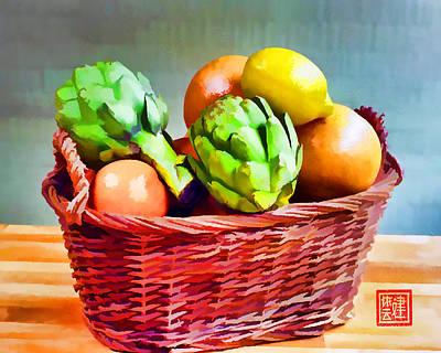 Grapefruit Digital Art - Artichoke Citrus Basket II by Ken Evans