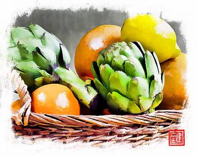 Grapefruit Digital Art - Artichoke Citrus Basket by Ken Evans