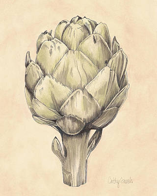 Artichoke Mixed Media - Artichoke I Print by Cathy Savels