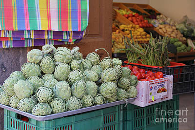 Artichokes And Asparagus Guanajuato Art Print by Linda Queally