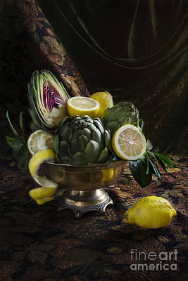 Artichokes And Lemons Art Print by Elena Nosyreva