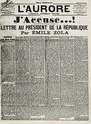 Article By Emile Zola Denouncing Art Print