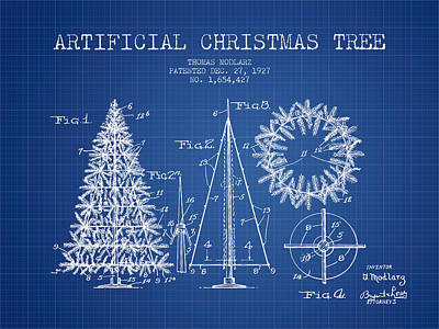 Artifical Christmas Tree Patent From 1927 - Blueprint Art Print