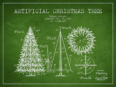 Artifical Christmas Tree Patent From 1927 - Green Art Print