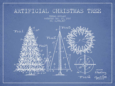 Artifical Christmas Tree Patent From 1927 - Light Blue Art Print by Aged Pixel