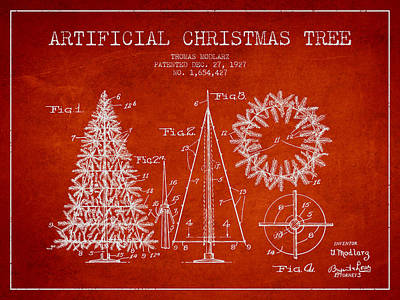 Artifical Christmas Tree Patent From 1927 - Red Art Print by Aged Pixel