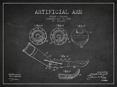 Artificial Arm Patent From 1904 - Dark Art Print