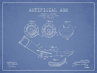 Prosthesis Digital Art - Artificial Arm Patent From 1904 - Light Blue by Aged Pixel