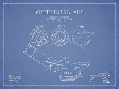 Artificial Arm Patent From 1904 - Light Blue Art Print
