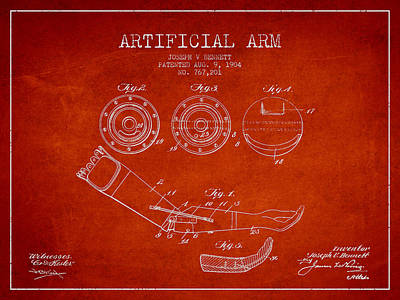 Artificial Arm Patent From 1904 - Red Art Print by Aged Pixel