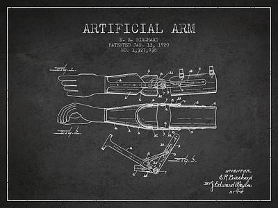 Prosthesis Digital Art - Artificial Arm Patent From 1920 -dark by Aged Pixel