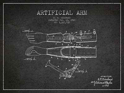 Artificial Arm Patent From 1920 -dark Art Print