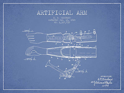 Prosthesis Digital Art - Artificial Arm Patent From 1920 - Light Blue by Aged Pixel