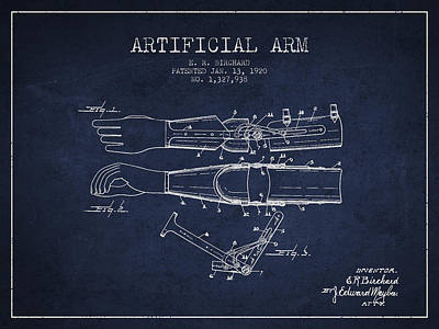 Prosthesis Digital Art - Artificial Arm Patent From 1920 - Navy Blue by Aged Pixel