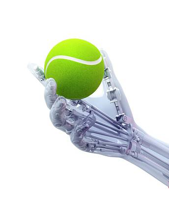 Artificial Hand Holding A Tennis Ball Art Print by Andrzej Wojcicki