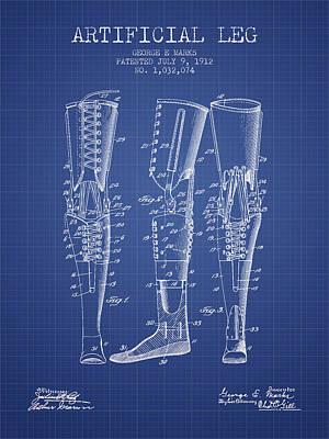 Artificial Leg Patent From 1912 - Blueprint Art Print