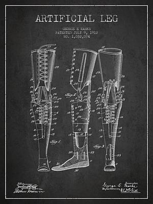 Artificial Leg Patent From 1912 - Dark Art Print