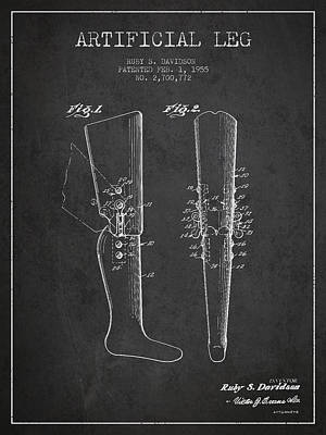 Artificial Leg Patent From 1955 - Dark Art Print