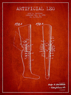 Prosthesis Digital Art - Artificial Leg Patent From 1955 - Red by Aged Pixel