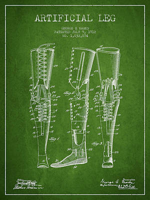 Artificial Leg Patent From 1912 - Green Art Print