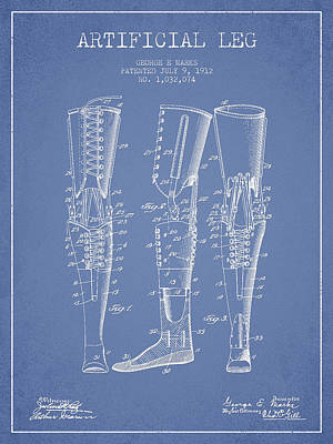 Artificial Leg Patent From 1912 - Light Blue Art Print