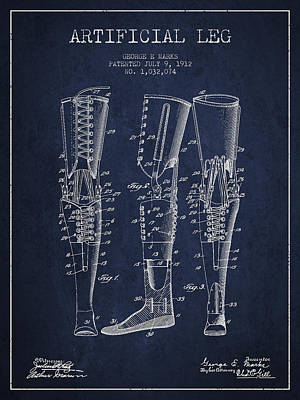 Prosthesis Digital Art - Artificial Leg Patent From 1912 - Navy Blue by Aged Pixel