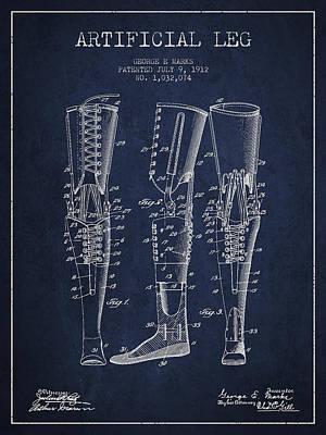 Artificial Leg Patent From 1912 - Navy Blue Art Print