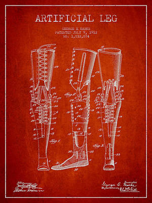 Prosthesis Digital Art - Artificial Leg Patent From 1912 - Red by Aged Pixel