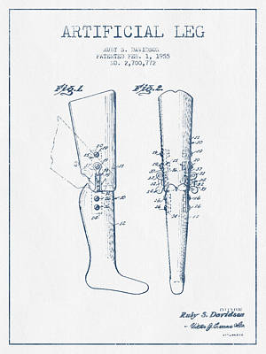 Artificial Leg Patent From 1955 - Blue Ink Art Print